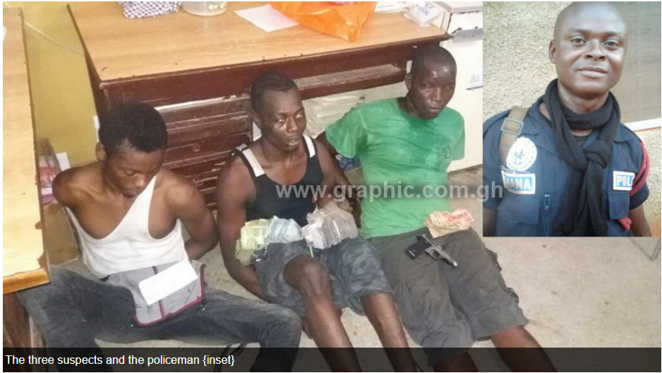 Policeman, three others arrested for armed robbery